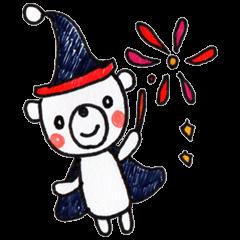 【LINEスタンプ】赤ほっぺのしろくま 秋・ハロウィン ver.