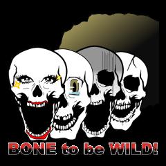 【LINEスタンプ】骨社会でドクロのコスプレbone to be wild!