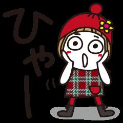 【LINEスタンプ】はな子7。前髪短かっ。冬服。