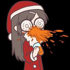 【LINEスタンプ】無表情で反応する系女子のクリスマス